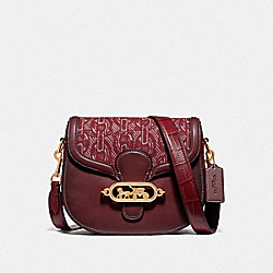 COACH F38111 Elle Saddle Bag With Chain Print CLARET/LIGHT GOLD