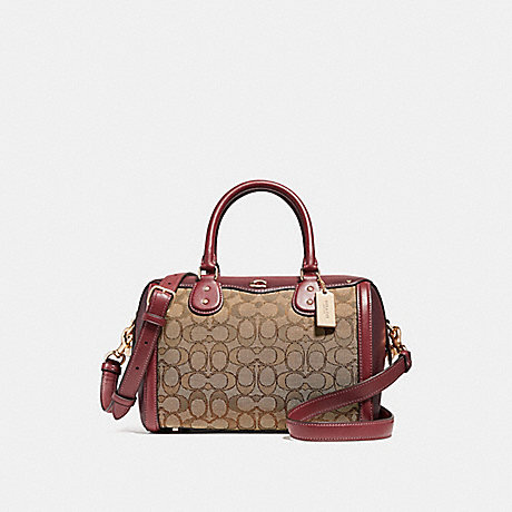 COACH F38112 IVIE BENNETT SATCHEL IN SIGNATURE JACQUARD KHAKI/WINE/LIGHT-GOLD