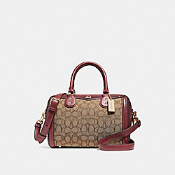 IVIE BENNETT SATCHEL IN SIGNATURE JACQUARD - F38112 - KHAKI/WINE/LIGHT GOLD