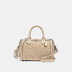 IVIE BENNETT SATCHEL IN SIGNATURE JACQUARD - F38112 - LIGHT KHAKI/BEECHWOOD/LIGHT GOLD