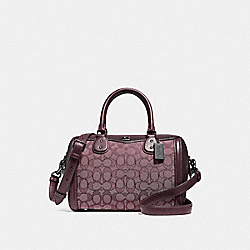 IVIE BENNETT SATCHEL IN SIGNATURE JACQUARD - F38112 - RASPBERRY/BLACK ANTIQUE NICKEL