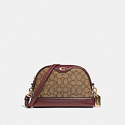 IVIE CROSSBODY IN SIGNATURE JACQUARD - F38113 - KHAKI/WINE/LIGHT GOLD