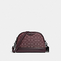 COACH F38113 - IVIE CROSSBODY IN SIGNATURE JACQUARD RASPBERRY/BLACK ANTIQUE NICKEL