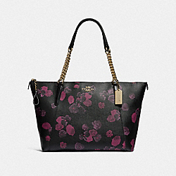 COACH F38114 Ava Chain Tote With Halftone Floral Print BLACK/WINE/LIGHT GOLD