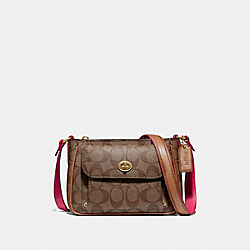 COACH F38121 - SADIE CROSSBODY IN SIGNATURE CANVAS KHAKI/NEON PINK/LIGHT GOLD