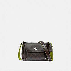SADIE CROSSBODY IN SIGNATURE CANVAS - F38121 - BROWN/NEON YELLOW/SILVER