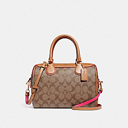 MINI BENNETT SATCHEL IN SIGNATURE CANVAS - F38133 - KHAKI/NEON PINK/LIGHT GOLD
