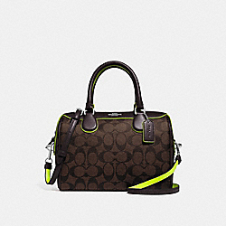 MINI BENNETT SATCHEL IN SIGNATURE CANVAS - F38133 - SV/BROWN/NEON YELLOW
