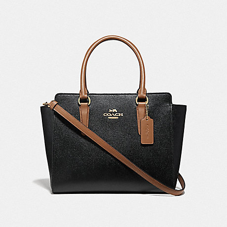 COACH F38134 LEAH SATCHEL BLACK/SADDLE/LIGHT GOLD