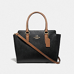 LEAH SATCHEL - F38134 - BLACK/SADDLE/LIGHT GOLD