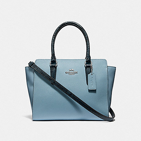 COACH F38137 LEAH SATCHEL CORNFLOWER/MIDNIGHT/SILVER