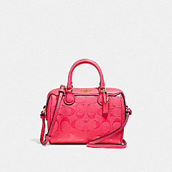 MICRO BENNETT SATCHEL IN SIGNATURE LEATHER - F38138 - NEON PINK/LIGHT GOLD