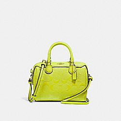 MICRO BENNETT SATCHEL IN SIGNATURE LEATHER - F38138 - NEON YELLOW/LIGHT GOLD