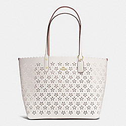 COACH F38158 - CITY TOTE IN LASER CUT LEATHER  IMITATION GOLD/CHALK GLITTER