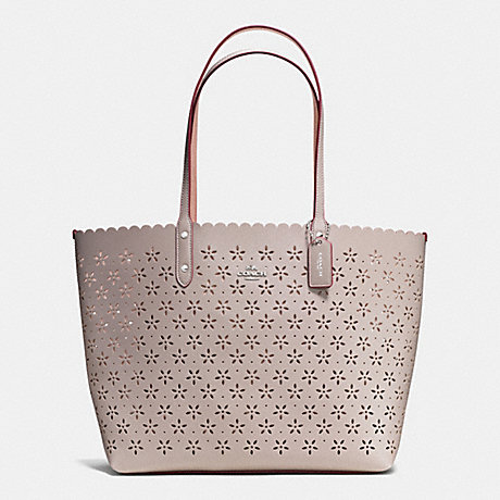 83c0cef565 ... coupon for coach f38158 city tote in laser cut leather silver grey  birch glitter a8069 0d2c0