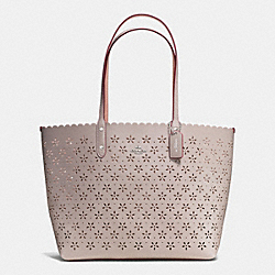 COACH F38158 City Tote In Laser Cut Leather  SILVER/GREY BIRCH GLITTER