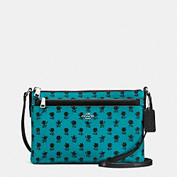 COACH F38159 East/west Crossbody With Pop Up Pouch In Badlands Floral Print Coated Canvas SILVER/TURQUOISE BLACK