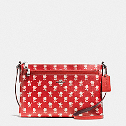 EAST/WEST CROSSBODY WITH POP UP POUCH IN BADLANDS FLORAL PRINT COATED CANVAS - f38159 - SILVER/CARMINE MULTI