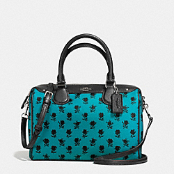 COACH F38160 Mini Bennett Satchel In Badlands Floral Print Coated Canvas SILVER/TURQUOISE BLACK