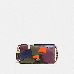 DINKY IN PATCHWORK GLOVETANNED LEATHER - f38179 - OLD BRASS/BLACK MULTI