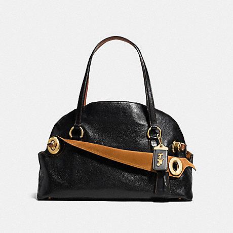 COACH f38192 OUTLAW SATCHEL 42 BLACK/OLD BRASS