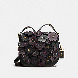 COACH F38195 Saddle 23 With Tea Rose BLACK/OLD BRASS