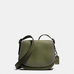 COACH F38198 Saddle 23 In Burnished Glovetanned Leather BLACK COPPER/OLIVE