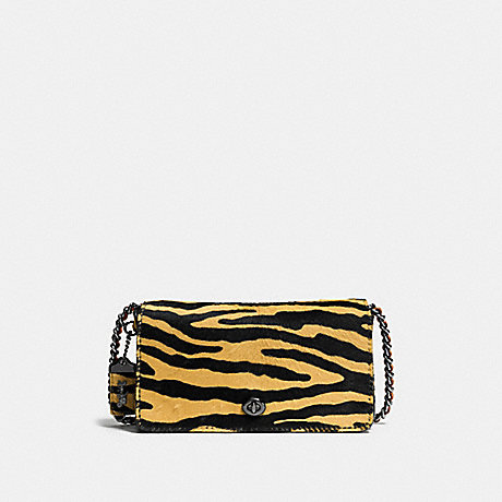 COACH f38209 DINKY IN PRINTED HAIRCALF DARK GUNMETAL/TIGER ORANGE