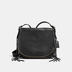 COACH F38219 Saddle In Pebble Leather With Whiplash Details BLACK COPPER/BLACK