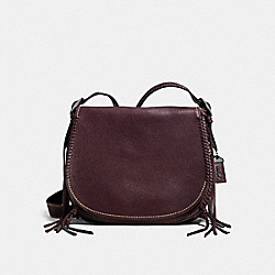 COACH F38219 Saddle With Whiplash Detail OXBLOOD/DARK GUNMETAL
