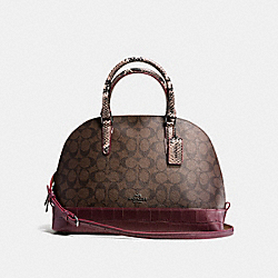 COACH F38246 Sierra Satchel In Signature With Exotic Mix Trim BLACK ANTIQUE NICKEL/OXBLOOD
