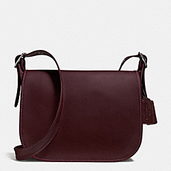 COACH F38247 Patricia Saddle Bag In Smooth Leather BLACK ANTIQUE NICKEL/OXBLOOD