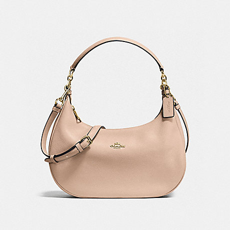 COACH f38250 HARLEY EAST/WEST HOBO IN PEBBLE LEATHER IMITATION GOLD/BEECHWOOD