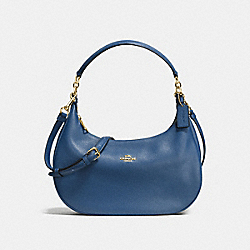 HARLEY EAST/WEST HOBO IN PEBBLE LEATHER - f38250 - IMITATION GOLD/MARINA