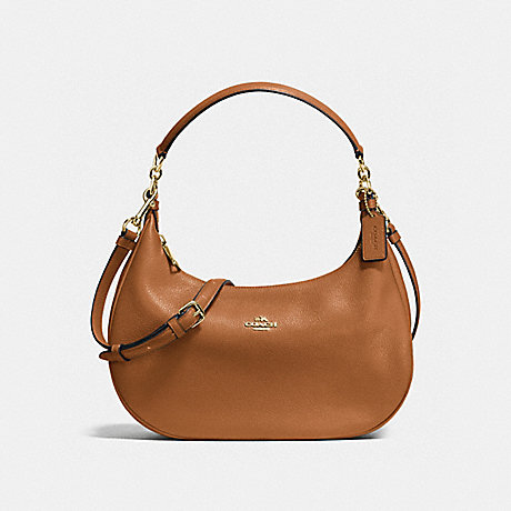 COACH F38250 HARLEY EAST/WEST HOBO IN PEBBLE LEATHER IMITATION-GOLD/SADDLE