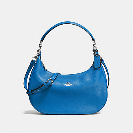 COACH f38250 HARLEY EAST/WEST HOBO IN PEBBLE LEATHER SILVER/LAPIS
