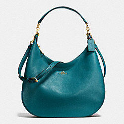 COACH F38259 Harley Hobo In Pebble Leather IMITATION GOLD/ATLANTIC