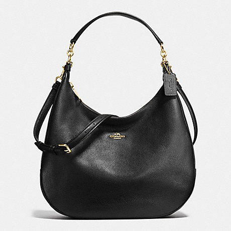 COACH f38259 HARLEY HOBO IN PEBBLE LEATHER IMITATION GOLD/BLACK