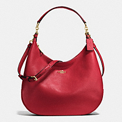 COACH F38259 - HARLEY HOBO IN PEBBLE LEATHER IMITATION GOLD/TRUE RED