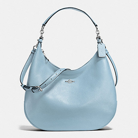 COACH f38259 HARLEY HOBO IN PEBBLE LEATHER SILVER/CORNFLOWER