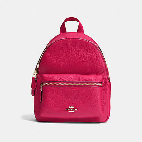 COACH f38263 MINI CHARLIE BACKPACK IN PEBBLE LEATHER IMITATION GOLD/BRIGHT PINK