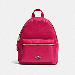COACH F38263 - MINI CHARLIE BACKPACK IN PEBBLE LEATHER IMITATION GOLD/BRIGHT PINK