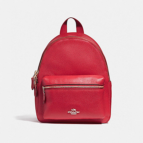 COACH f38263 MINI CHARLIE BACKPACK IN PEBBLE LEATHER LIGHT GOLD/TRUE RED