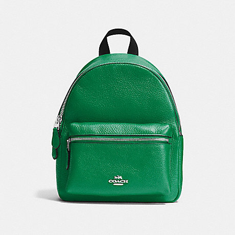 COACH f38263 MINI CHARLIE BACKPACK IN PEBBLE LEATHER SILVER/JADE