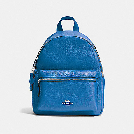 COACH f38263 MINI CHARLIE BACKPACK IN PEBBLE LEATHER SILVER/LAPIS