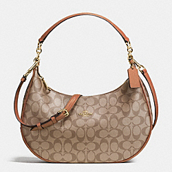 COACH F38267 Harley East/west Hobo In Signature IMITATION GOLD/KHAKI/SADDLE