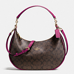 COACH F38267 Harley East/west Hobo In Signature IMITATION GOLD/BROWN/FUCHSIA