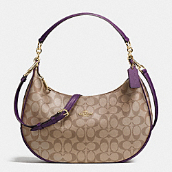 HARLEY EAST/WEST HOBO IN SIGNATURE - f38267 - IMITATION GOLD/KHAKI AUBERGINE