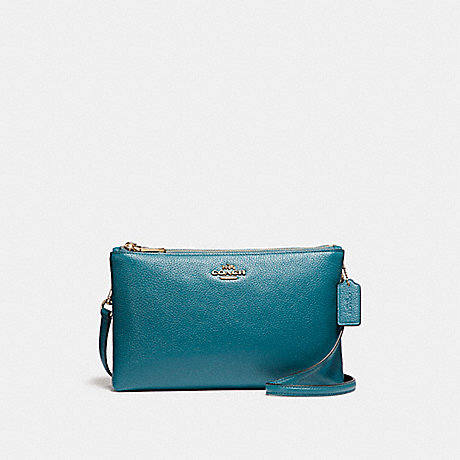 COACH f38273 LYLA CROSSBODY IN PEBBLE LEATHER LIGHT GOLD/DARK TEAL
