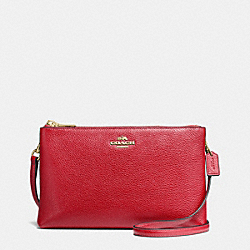 LYLA CROSSBODY IN PEBBLE LEATHER - f38273 - IMITATION GOLD/TRUE RED